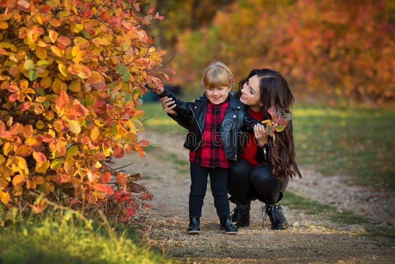 Glückliche Familienmutter und Kinderkleine Tochter, die auf Herbstweg läuft und spielt stockbild