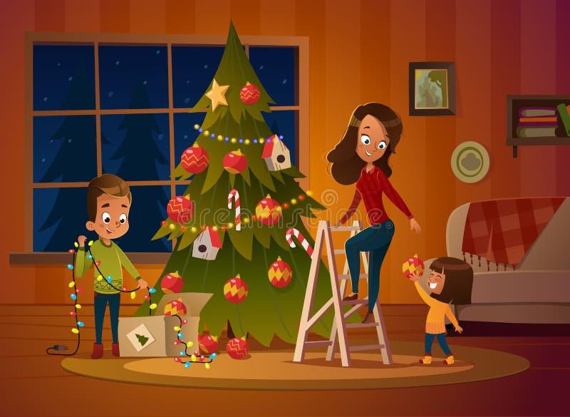 Glückliche Familienmutter und zwei Kinder kleidet oben Weihnachtsbaum Der Junge wickelt die Girlande ab Familie in den Weihnachts stock abbildung