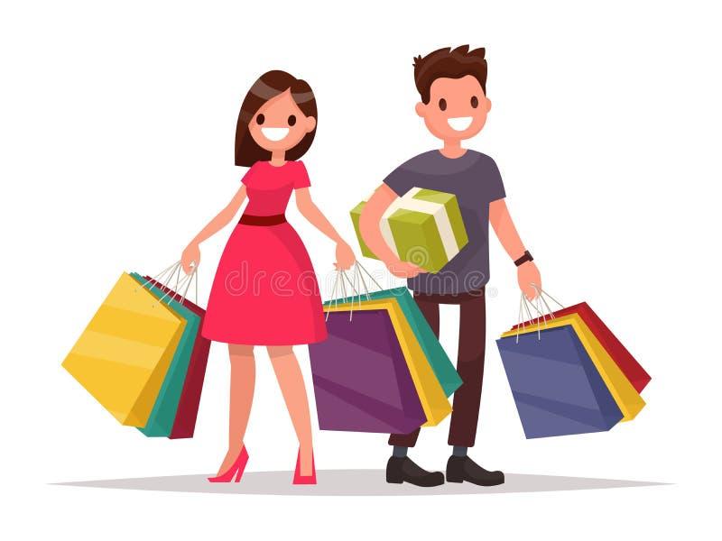 Glückliche Familienpaare mit dem Einkaufen Mann und Frau mit Beuteln groß lizenzfreie abbildung