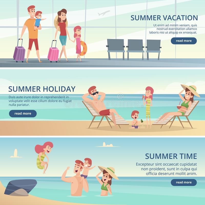 Glückliche Familienreisefahnen Sommerferien auf tropischem Meer mit Eltern- und Kindervektorhintergründen für Karten vektor abbildung