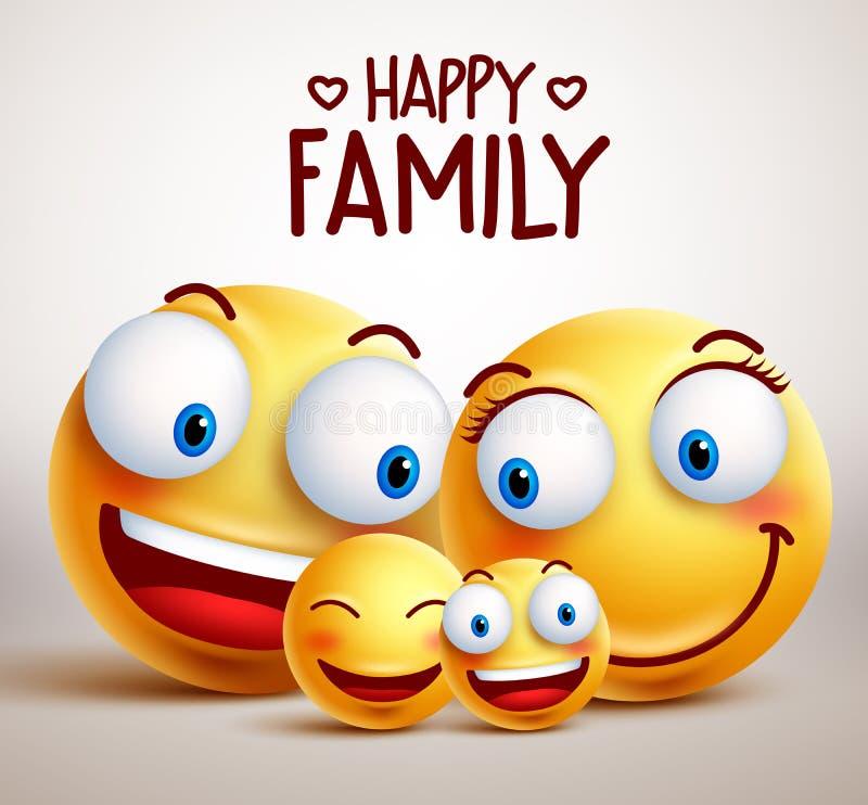 Glückliche Familiensmileygesichts-Vektorcharaktere mit Vater, Mutter und Kindern lizenzfreie abbildung