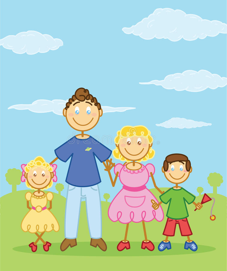 Glückliche Familiensteuerknüppelabbildung Artabbildung stock abbildung