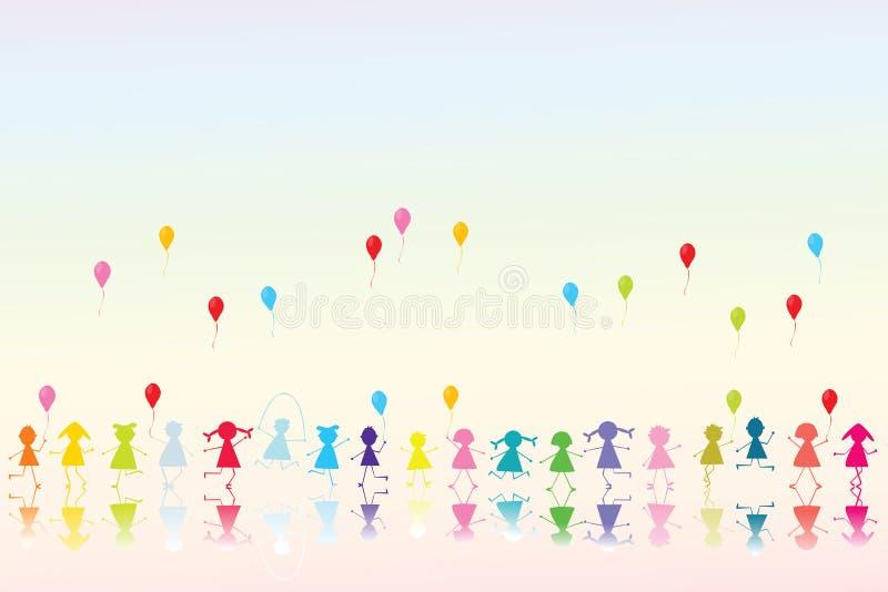 Glückliche farbige Kinder stock abbildung. Illustration von ...
