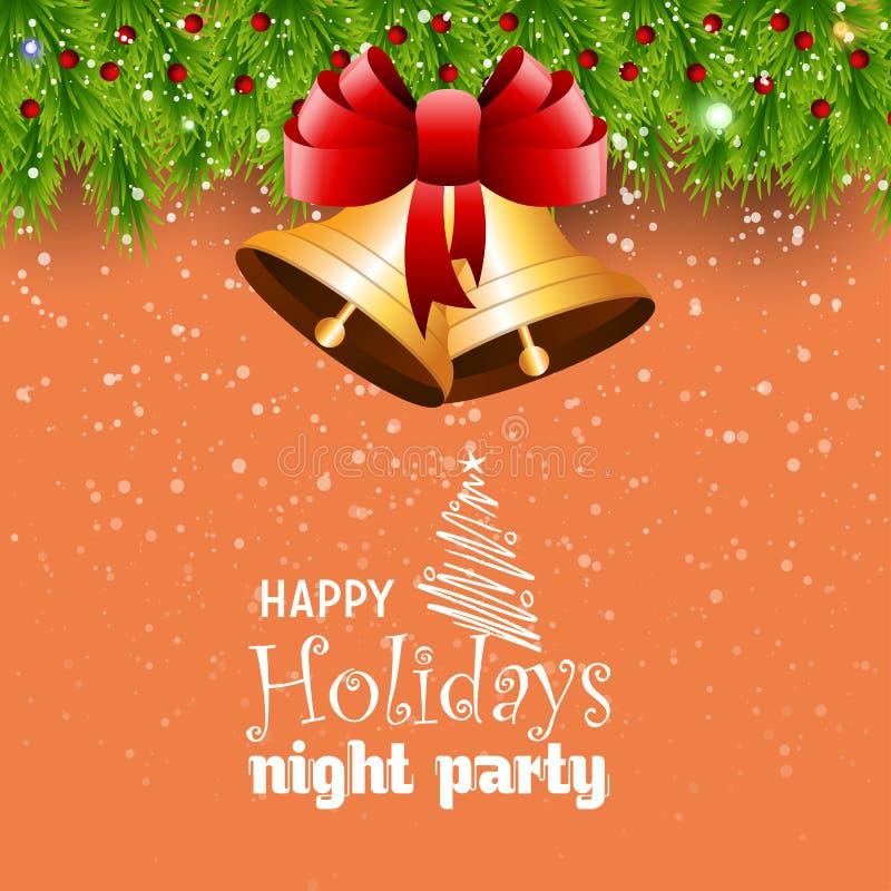 Glückliche Feiertags-Nachtpartei Jingle Bell Bokeh Border vektor abbildung