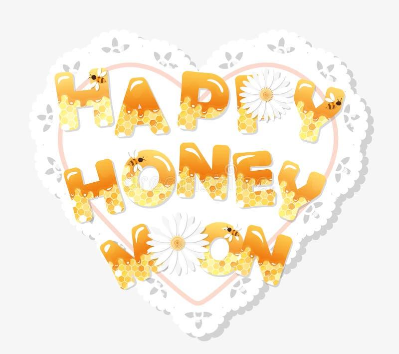 Glückliche Flitterwochenbuchstaben auf dem Spitzen- Doily Muster mit Bienenwabe ist unter Ausschnittsmaske voll stock abbildung