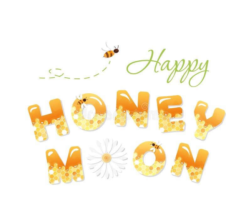 Glückliche Flitterwochenbuchstaben Muster mit Bienenwabe ist unter Ausschnittsmaske voll stock abbildung