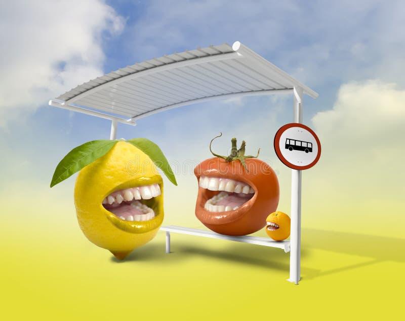 Glückliche Früchte stockfoto