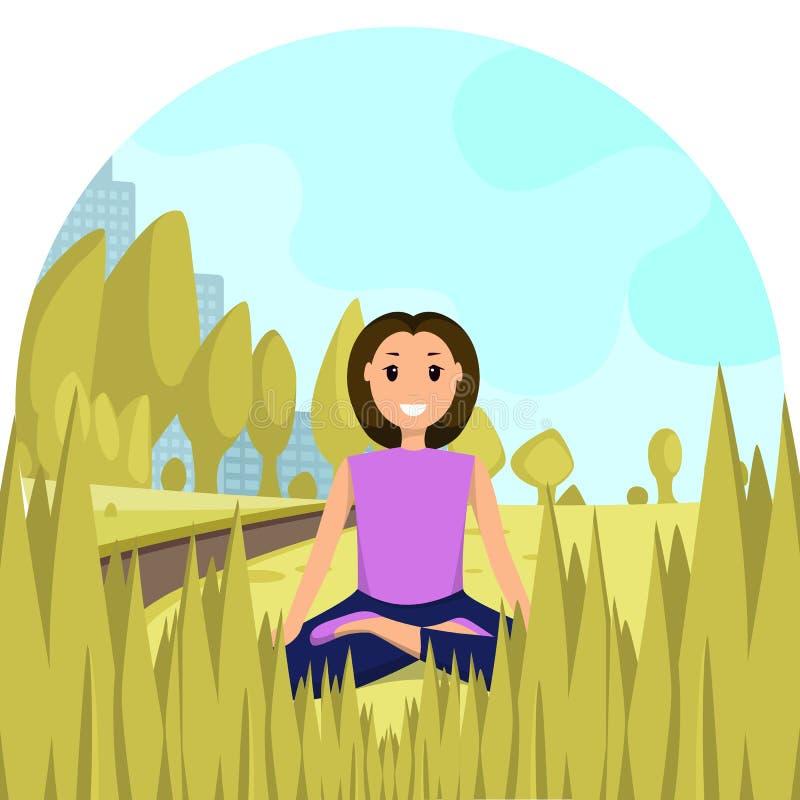 Glückliche Frau, die Lotus Position City Park sitzt stock abbildung