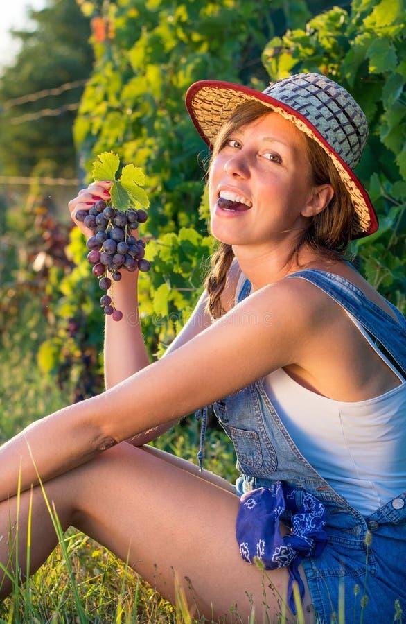 Glückliche Frau, die Trauben im Weinberg isst lizenzfreie stockfotos