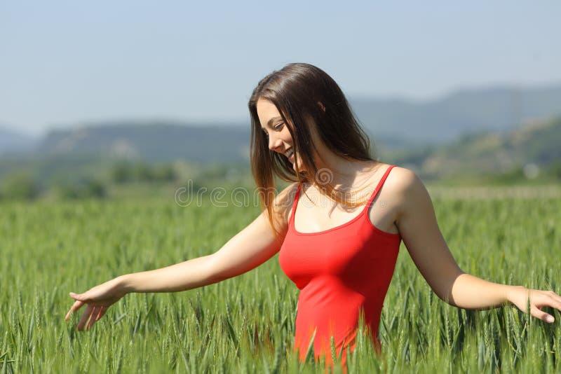 Glückliche Frau, die zwischen Weizen auf einem Gebiet geht stockfoto