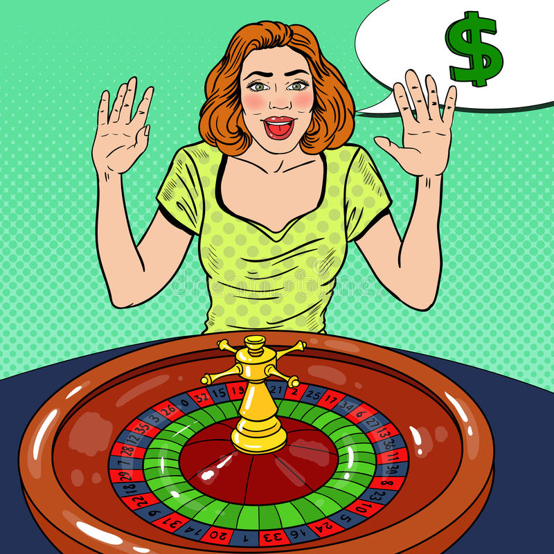 Glückliche Frau hinter Roulettetisch großen Gewinn feiernd Spielendes Kasino Pop-Art vektor abbildung