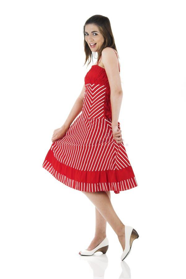 Glückliche Frau im Rot stockbilder