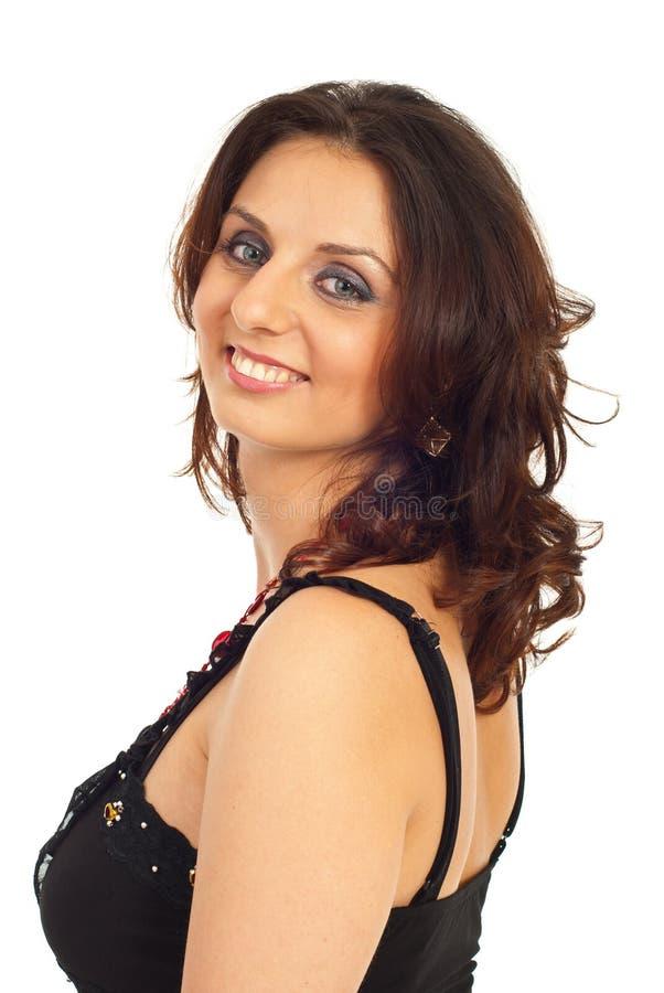 Glückliche Frau mit blauen Augen stockbild