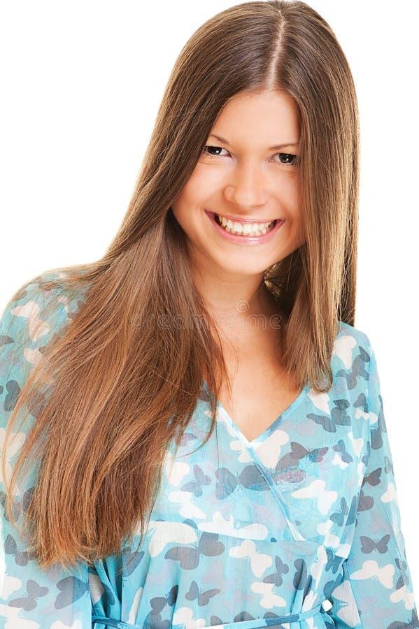 Glückliche Frau mit dem langen Haar lizenzfreies stockfoto