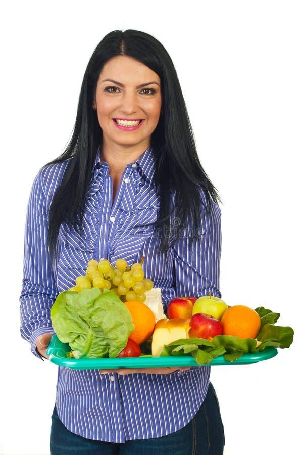 Glückliche Frau mit gesunder Nahrung lizenzfreies stockfoto