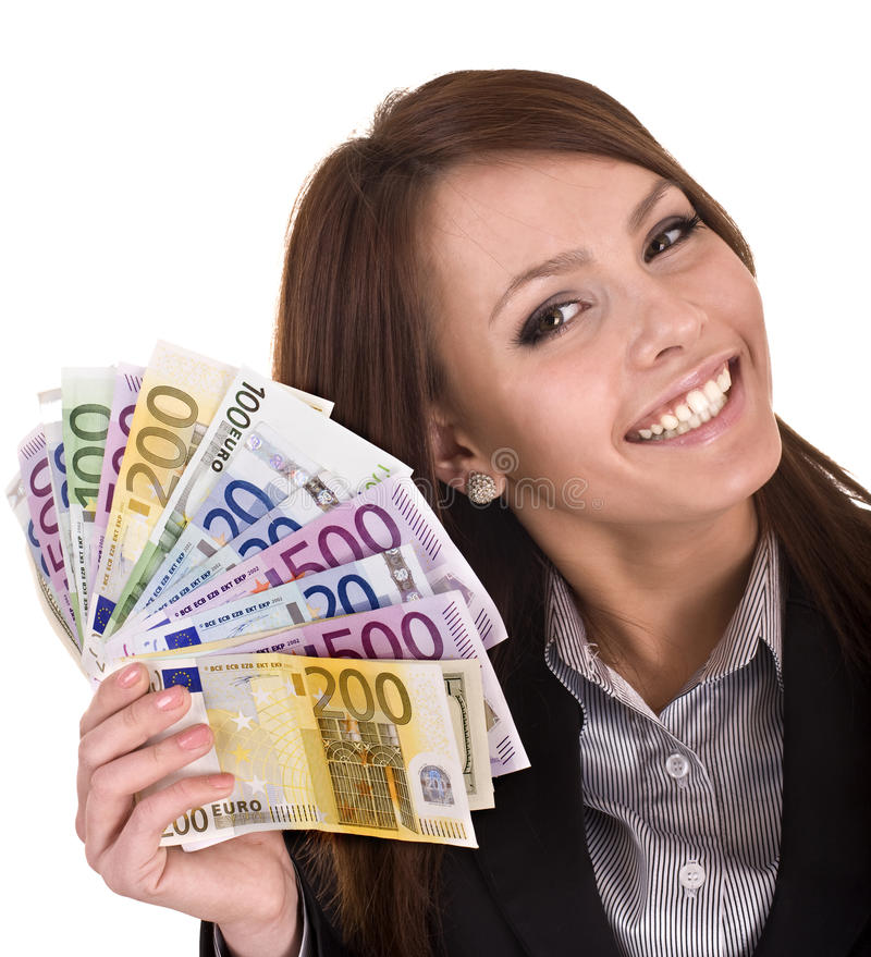 Glückliche Frau mit Gruppe Geld. lizenzfreie stockfotos
