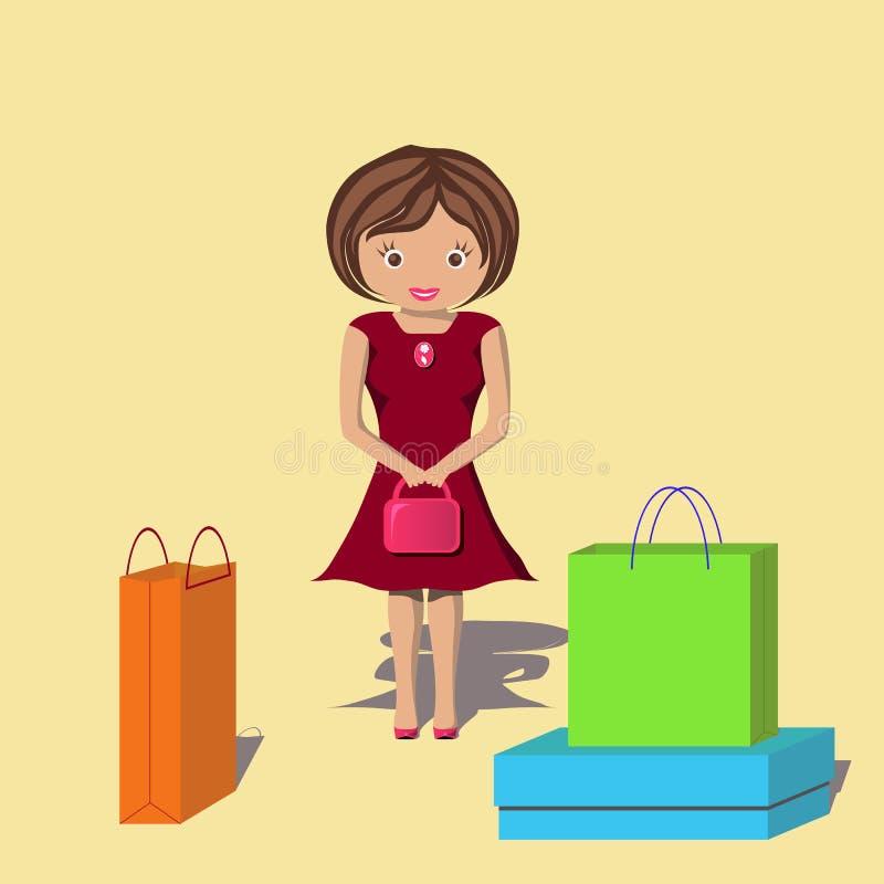 Glückliche Frau nach vielem Einkaufen stockfoto