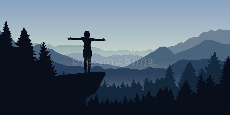 Glückliche Frau steht auf einer Klippe im Wald mit Bergblicknaturlandschaft vektor abbildung