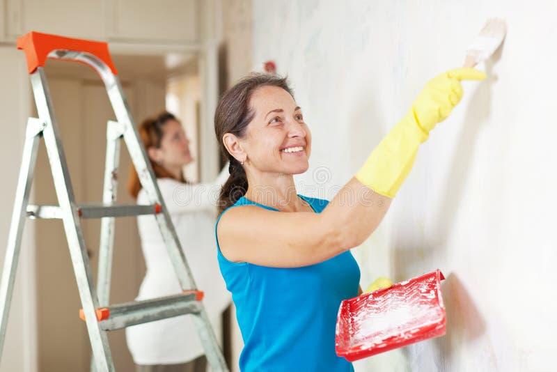 Glückliche Frauen, die Reparaturen durchführen stockfoto