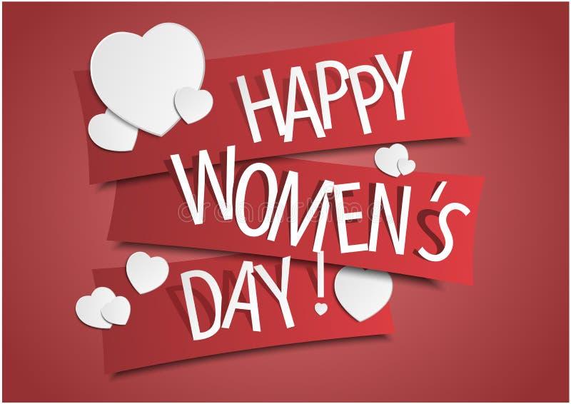 Glückliche Frauen ` s Tagesfahne mit Herzen Auch im corel abgehobenen Betrag lizenzfreie stockfotografie
