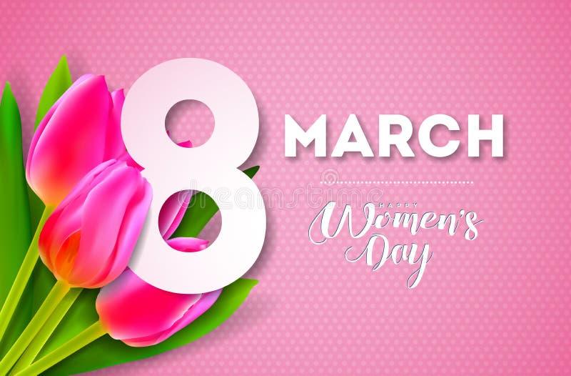 Glückliche Frauen ` s Tagesillustration mit Tulip Bouquet und 8. März Typografie-Buchstabe auf rosa Hintergrund Vektor-Frühlings- lizenzfreie abbildung