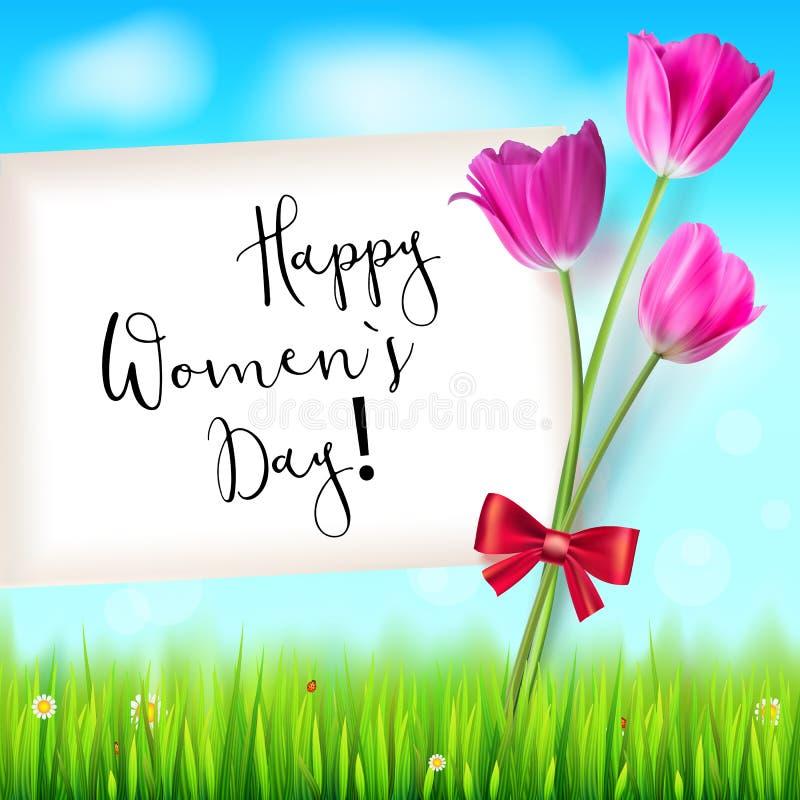 Glückliche Frauen Tag, Grußkarte Rosa Tulpen auf dem blauen Sommerhimmelhintergrund Grünes Gras und weiße Wolken Von Hand gezeich stock abbildung