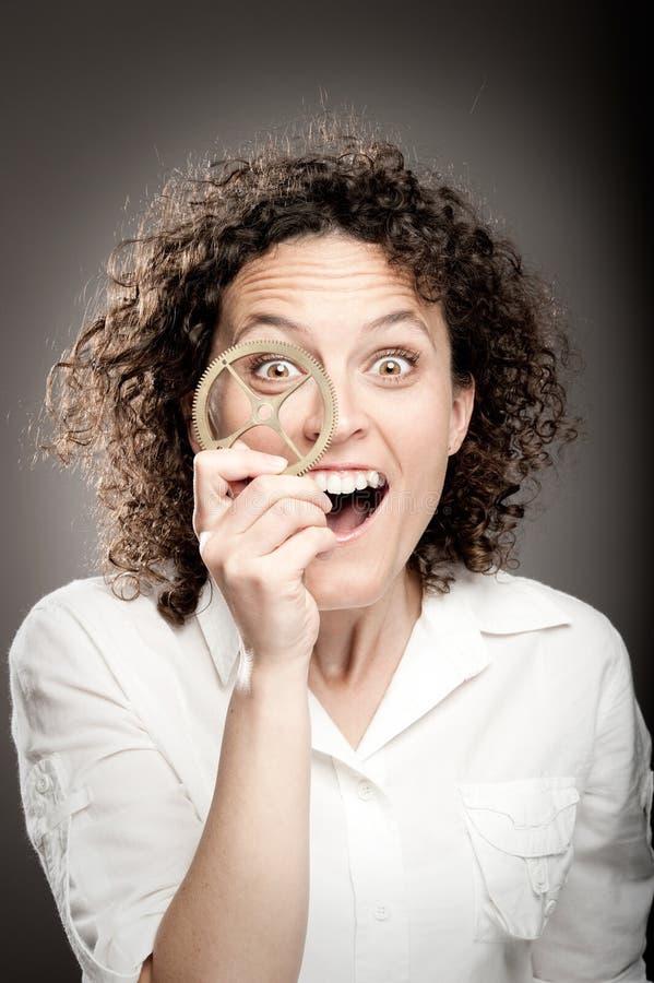 Download Glückliche Frauenholdingzähne Stockbild - Bild von schön, industrie: 27728689
