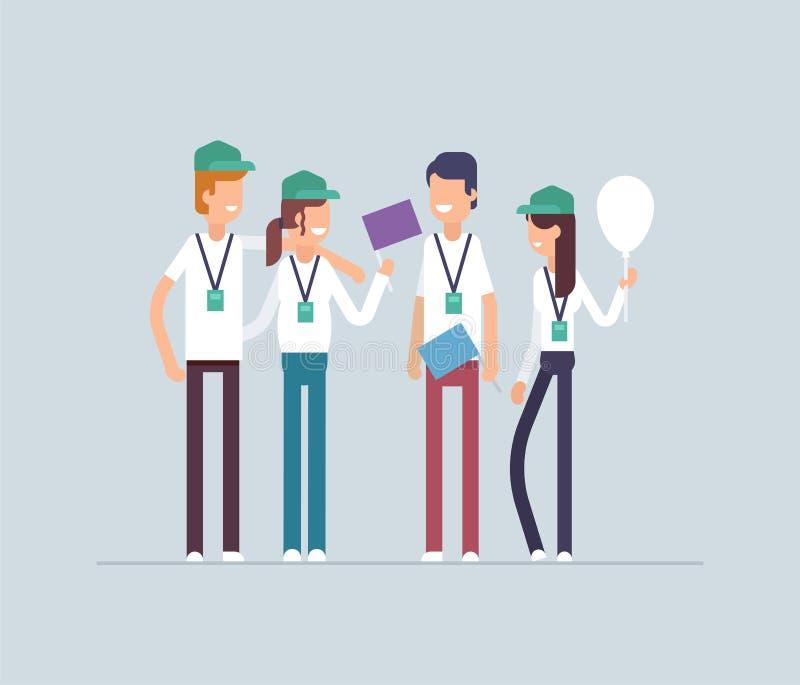 Glückliche Freiwillige, die zusammen stehen - moderne flache Designart lokalisierte Illustration stock abbildung