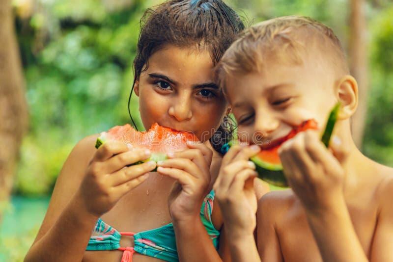 Glückliche Freunde, die Wassermelone essen stockbild