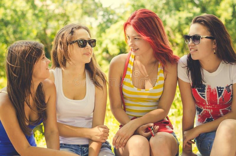 Glückliche Freundinnen, die auf Sommergrün sprechen lizenzfreies stockfoto
