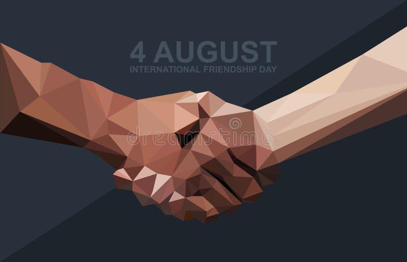 Glückliche Freundschafts-Tageskarte 4 August Best-Freunde, zwei rüttelndes Handsymbol stock abbildung
