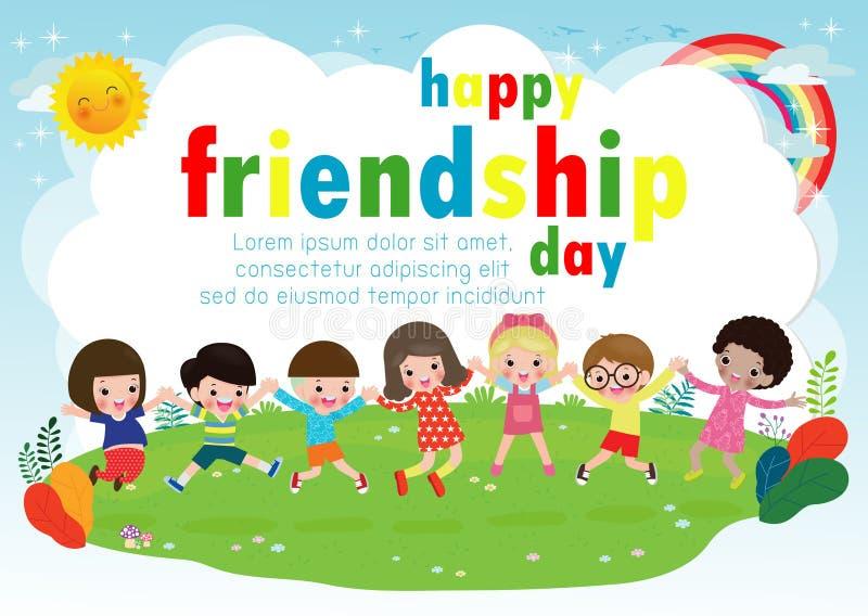 Glückliche Freundschaftstagesgrußkarte mit verschiedener Freundgruppe Kinderhändchenhalten und -c$springen auf eine Wiese lizenzfreie abbildung