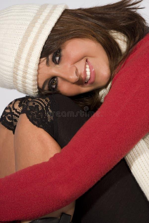 Glückliche Frisurbaumusterwinter-Wollekleidung stockbild