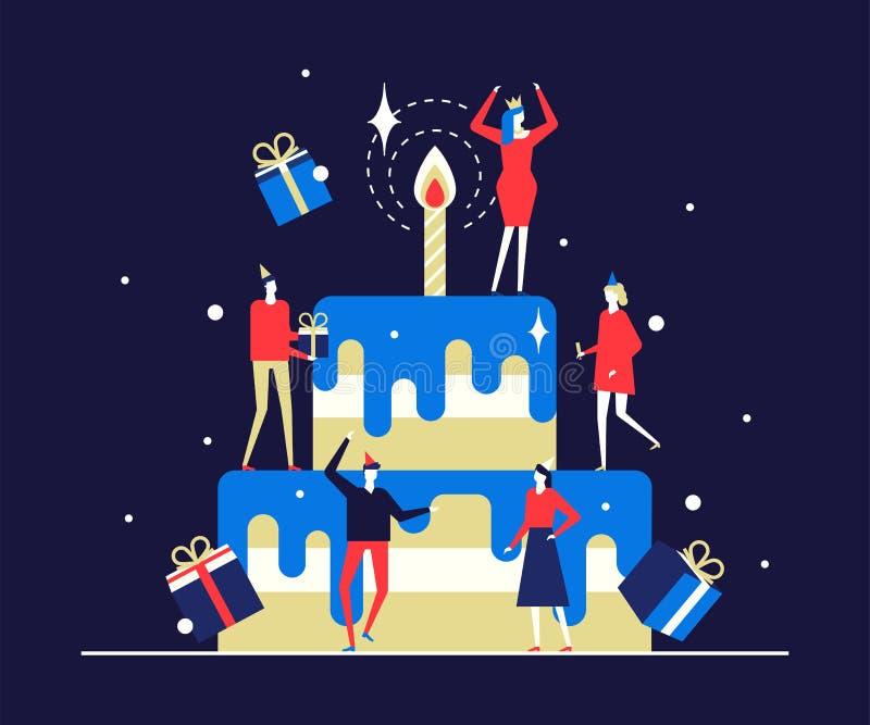 Glückliche Geburtstagsfeier - flache Entwurfsartillustration stock abbildung