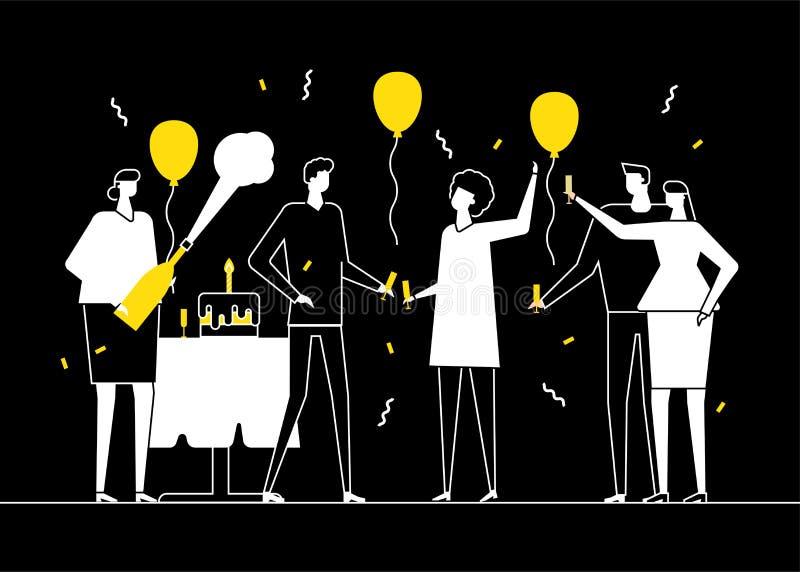 Glückliche Geburtstagsfeier - flache Entwurfsartillustration vektor abbildung