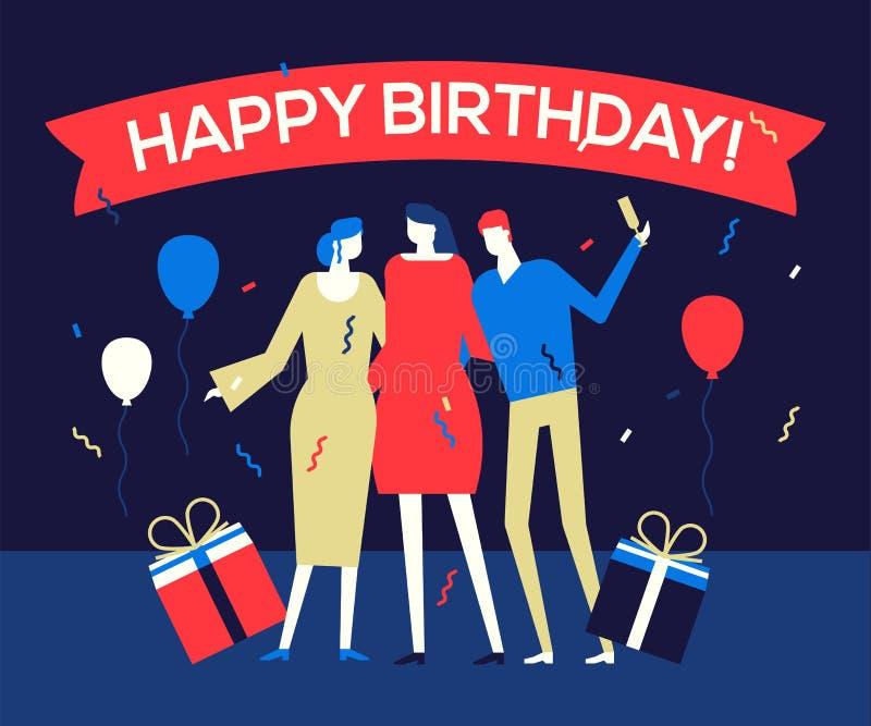 Glückliche Geburtstagsfeier - flache Entwurfsartillustration lizenzfreie abbildung