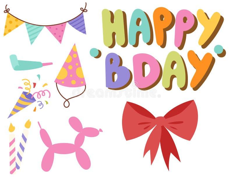 Glückliche Geburtstagsfeierfeier-Unterhaltungskonfettis stellen Ballondekoration für Urlaubsspaßjahrestag dar lizenzfreie abbildung