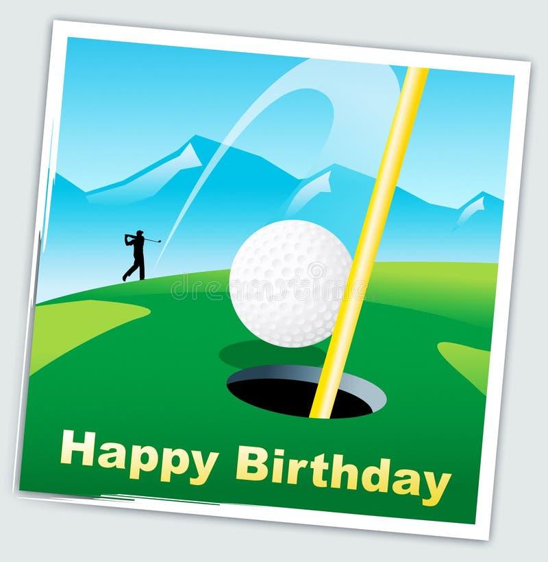 Glückliche Geburtstagsgolfer-Botschaft als Überraschung für Golf Player - 3D-Illustration stock abbildung