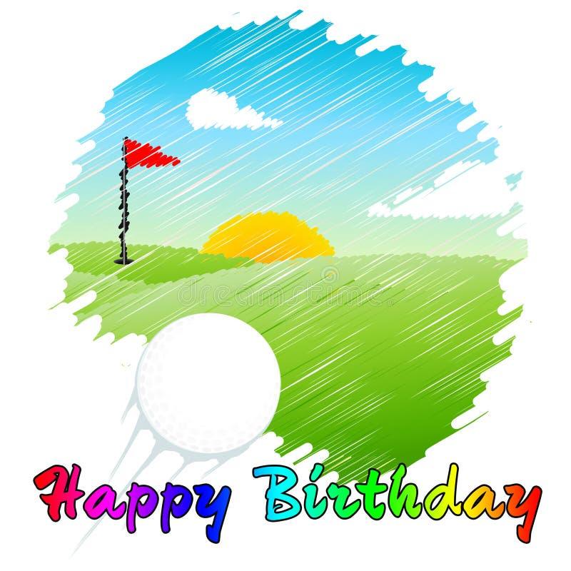 Glückliche Geburtstagsgolfer-Botschaft als Überraschung für Golf Player - 3D-Illustration vektor abbildung