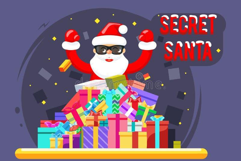 Glückliche geheime Designcharakter-Vektorillustration der Weihnachtsmann-Einkaufsstapelwarenweihnachtsgeschenkkästen flache vektor abbildung