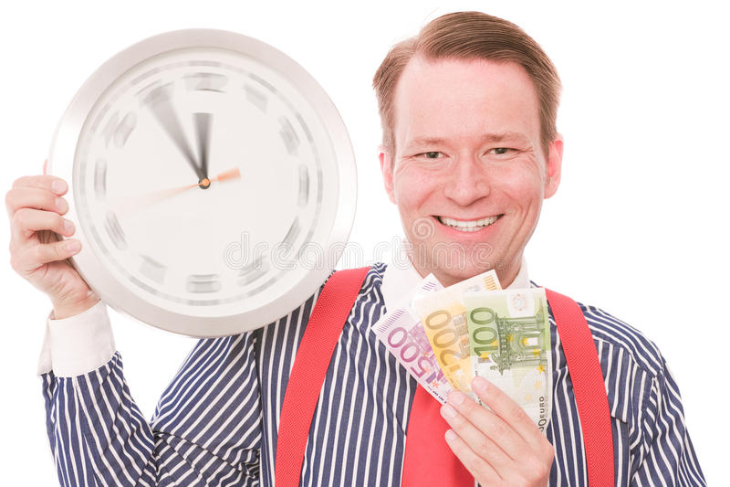 Glückliche Geldzeit (spinnende Uhrzeigerversion) stockbilder