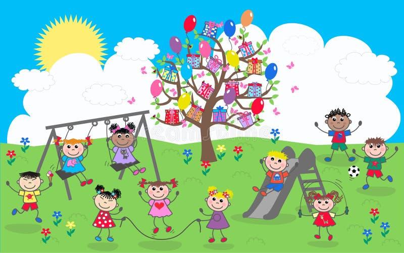 Glückliche gemischte ethnische Kinder lizenzfreie abbildung