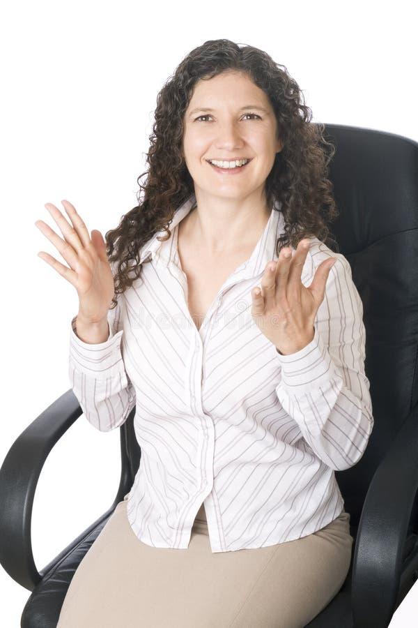 Glückliche Geschäftsfrau stockbild