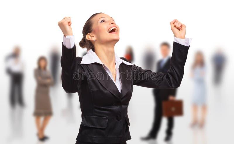 Glückliche Geschäftsfrau auf getrennt stockfotos