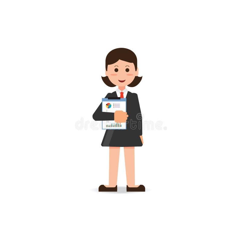 Glückliche Geschäftsfrau in der Klage, die mit Statistiken steht, archivieren in ha vektor abbildung