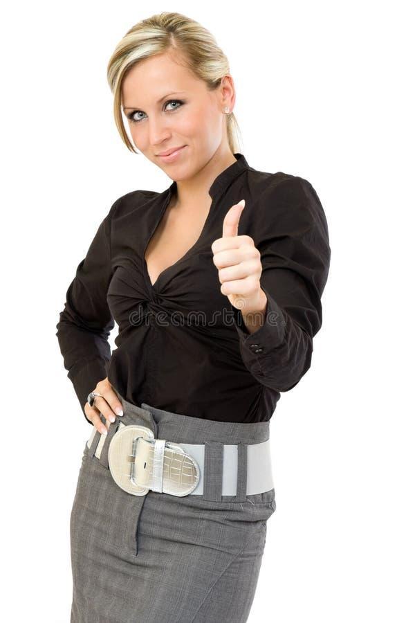 Glückliche Geschäftsfrau mit den Daumen oben lizenzfreies stockfoto