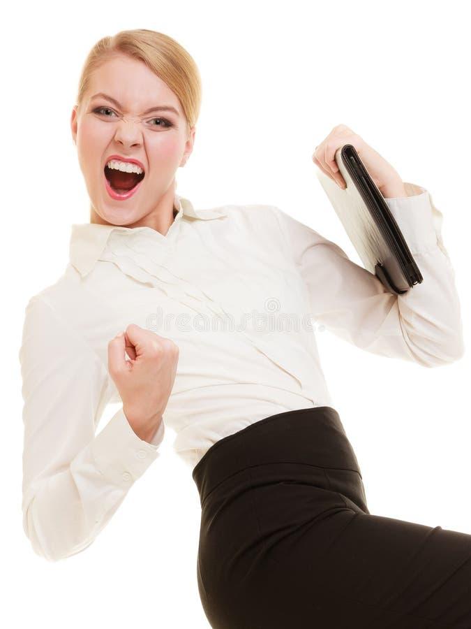 Glückliche Geschäftsfrau mit Erfolgshandzeichen lizenzfreie stockbilder