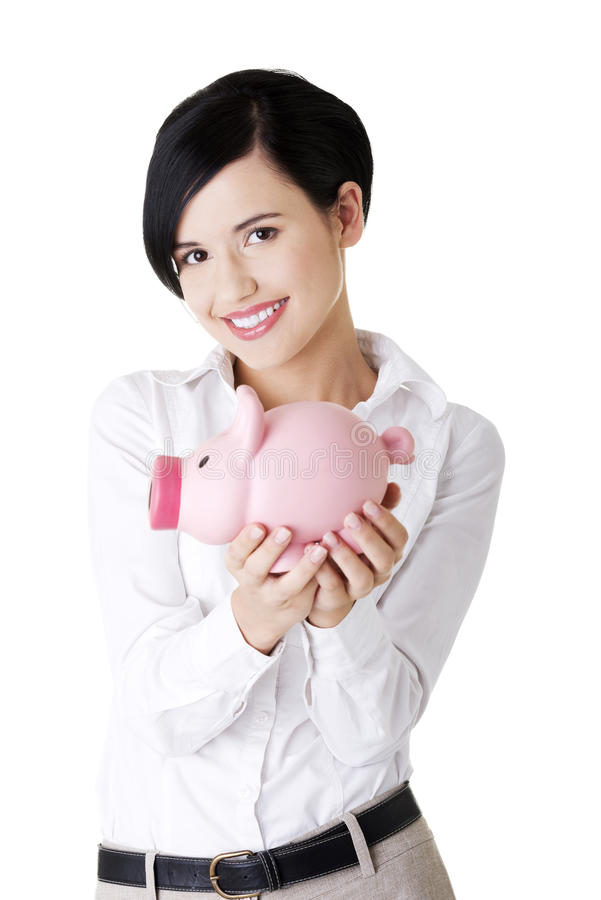 Download Glückliche Geschäftsfrau Mit Ihren Sparungen Stockbild - Bild von holding, mädchen: 26366645