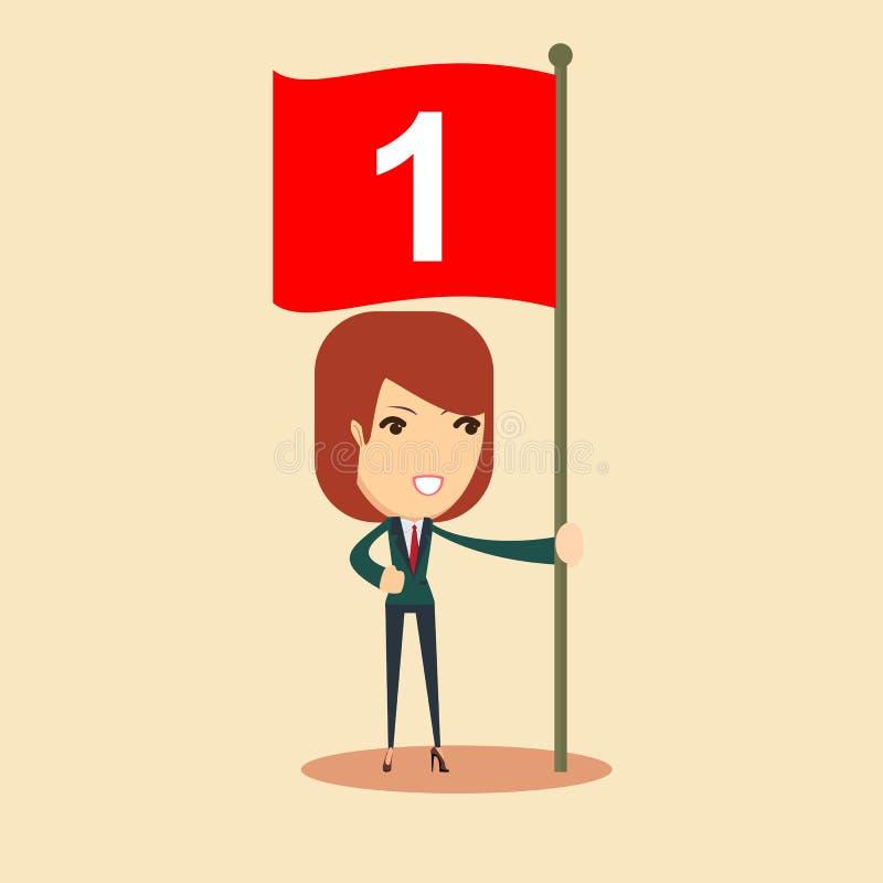 Glückliche Geschäftsfrau mit Nummer Eins-Flagge Auch im corel abgehobenen Betrag lizenzfreie abbildung