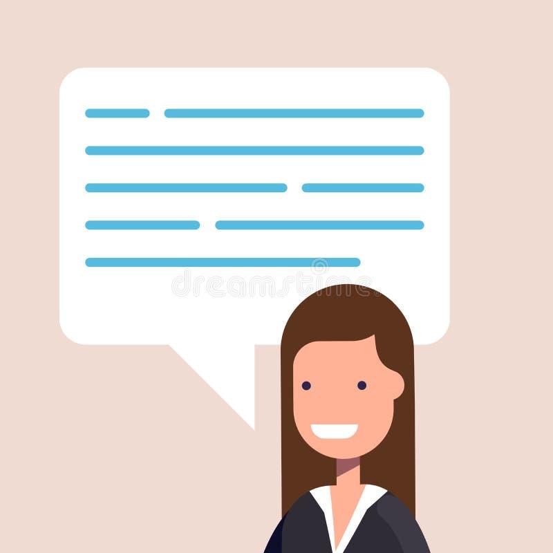 Glückliche Geschäftsfrau oder Manager in einer flachen Art Spracheblase mit einem Platz unter dem Text Auch im corel abgehobenen  stock abbildung